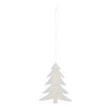 Kersthanger kerstboom hout 8 cm grijs