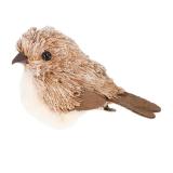Vogel op clip 10 cm bruin