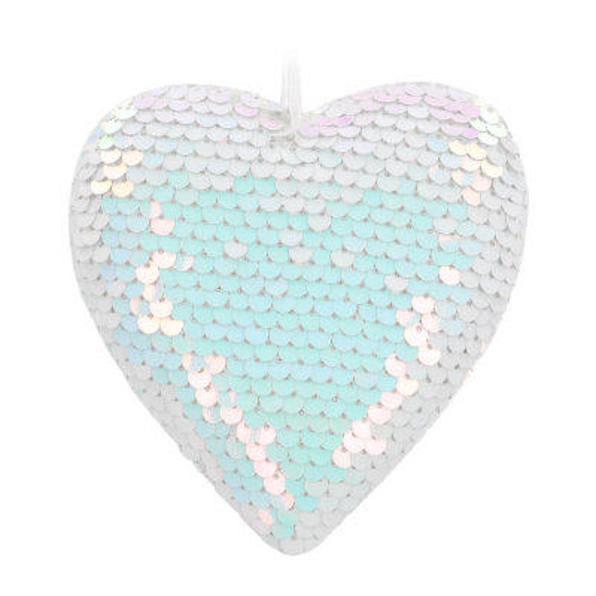 Hanger hart met pailletten 12cm parelmoer