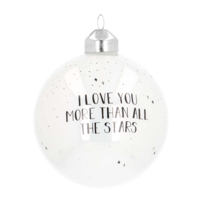 Luxe glazen kerstbal 8 cm wit ''I love you more than all the stars''