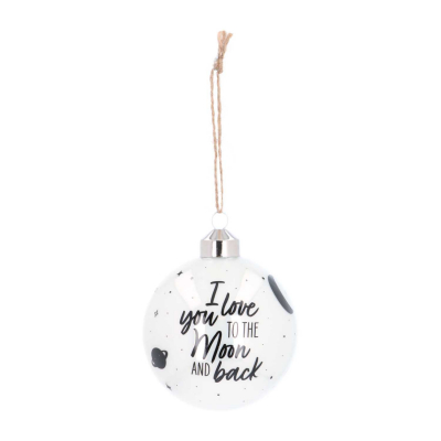 Luxe glazen kerstbal 8 cm wit ''I love you to the moon and back''