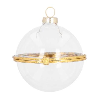 Transparante vulbare kerstbal van glas 8 cm goud