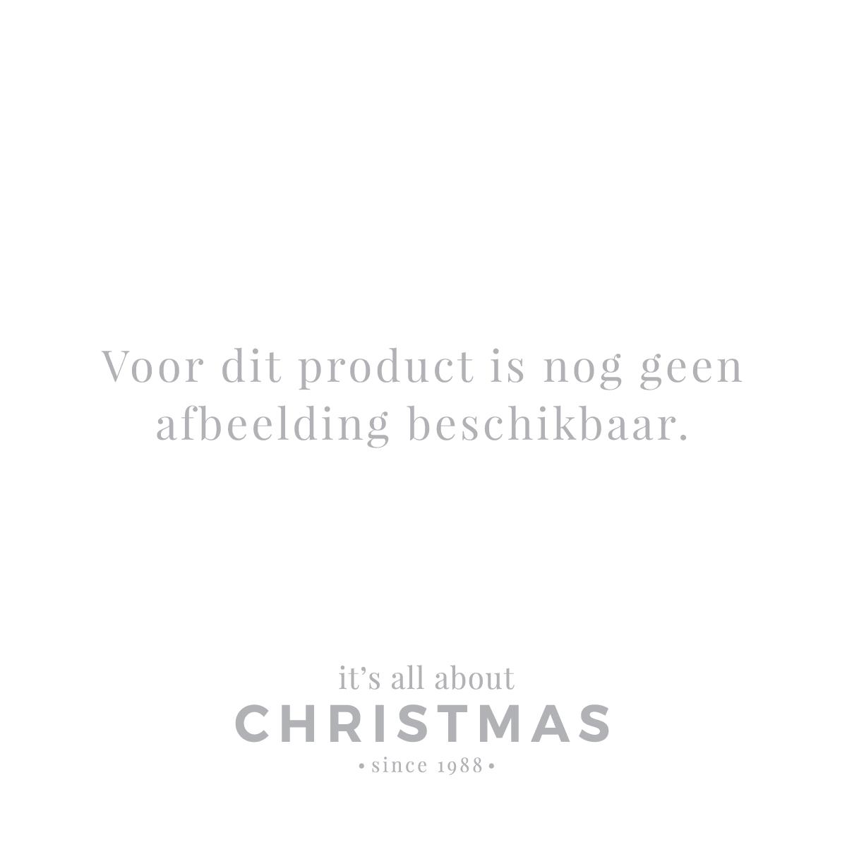 Luxe glazen kerstbal glanzend kerstrood witte strepen 7cm