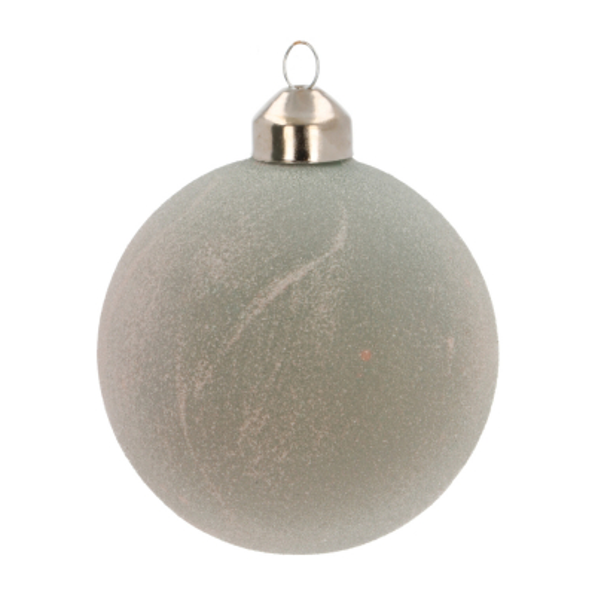Bijzondere glazen kerstbal cottage green kristalzand 8cm
