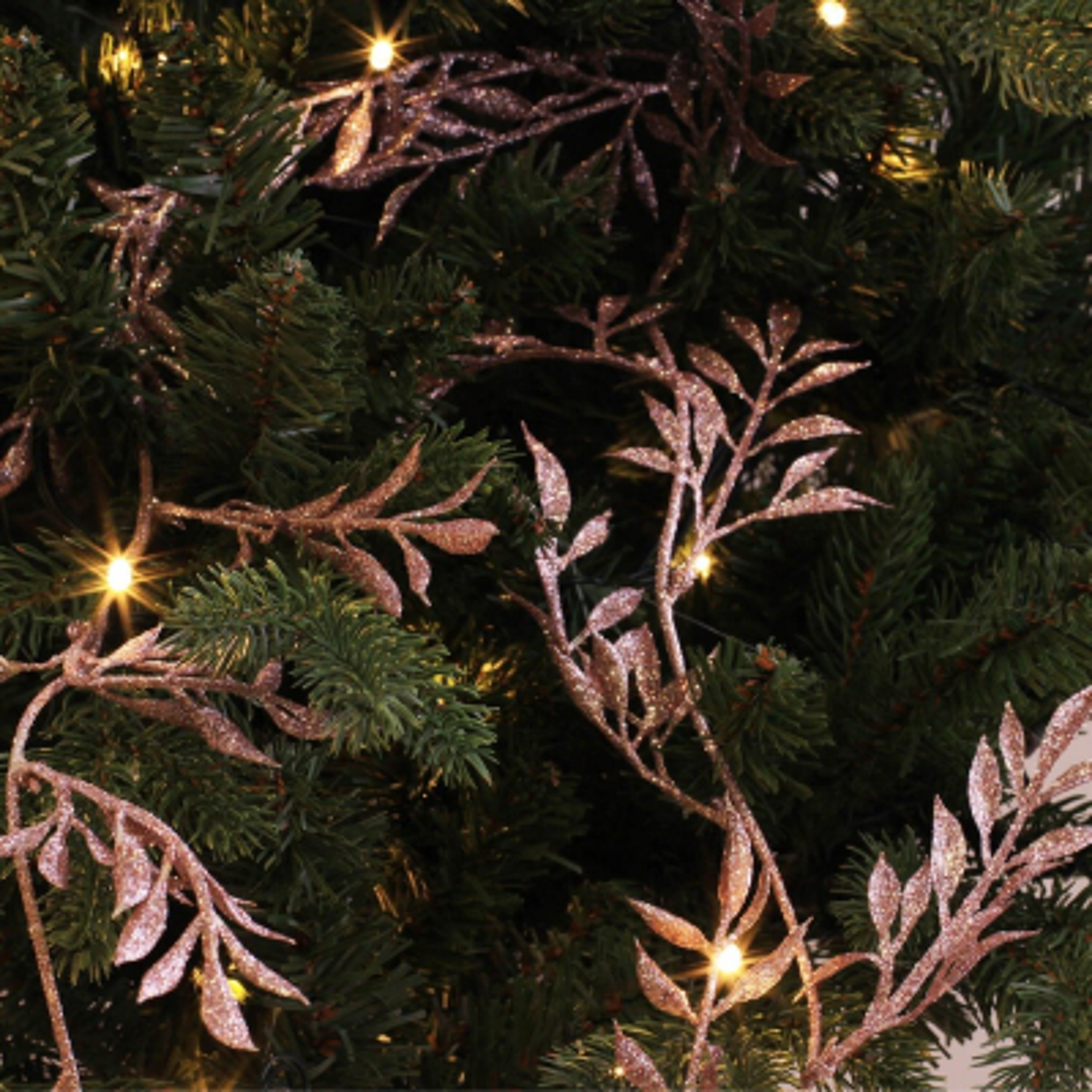 Glitter slinger met blaadjes 260cm zachtroze