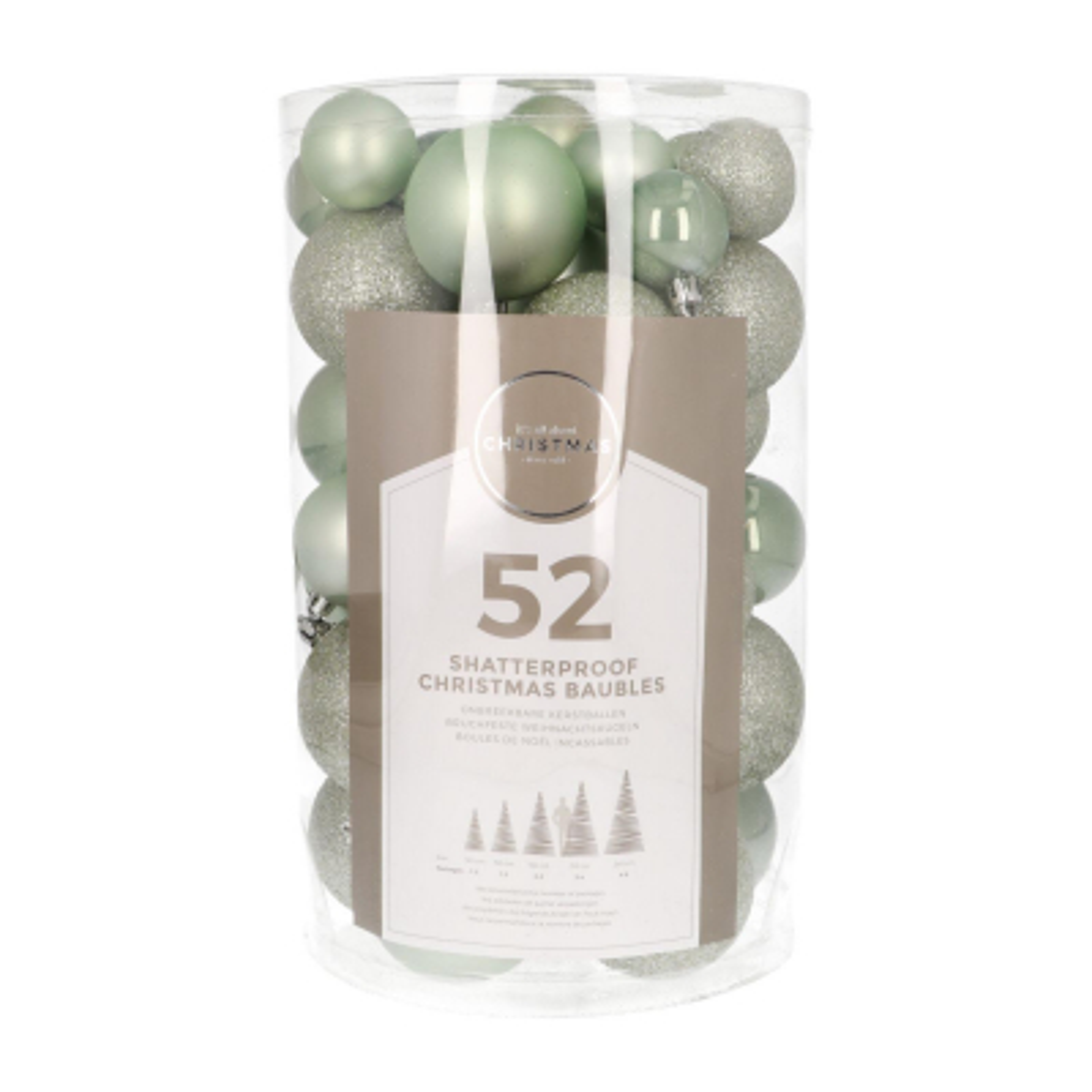 52 kunststof kerstballen eucalyptus in koker 4-7 cm