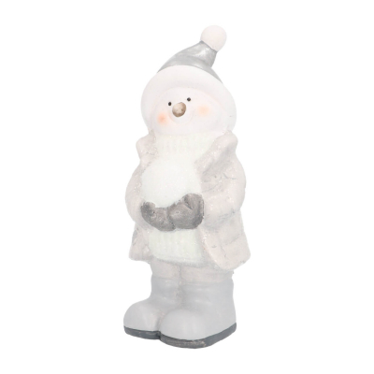 Sneeuwpop met sneeuwbal 19cm keramiek