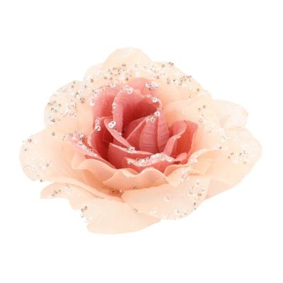 Roos op clip oudroze 12 cm