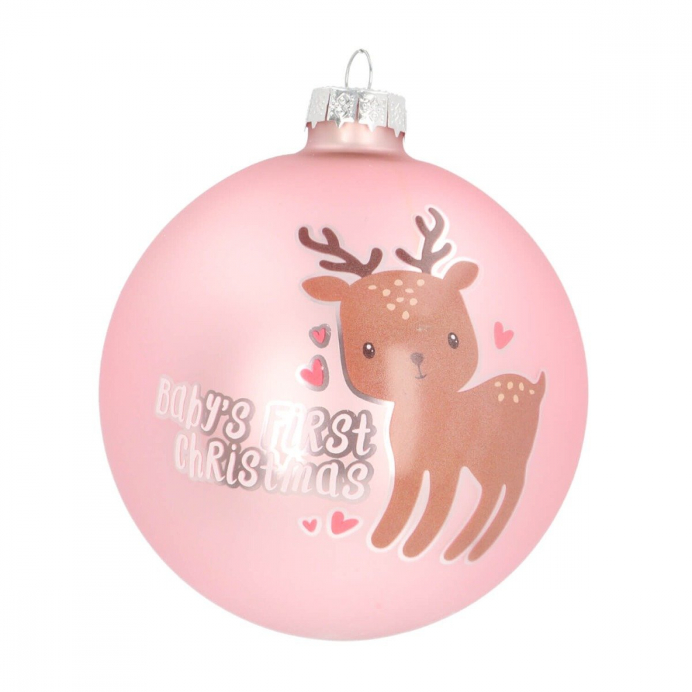 Baby's First kerstbal rendier roze 10 cm glas