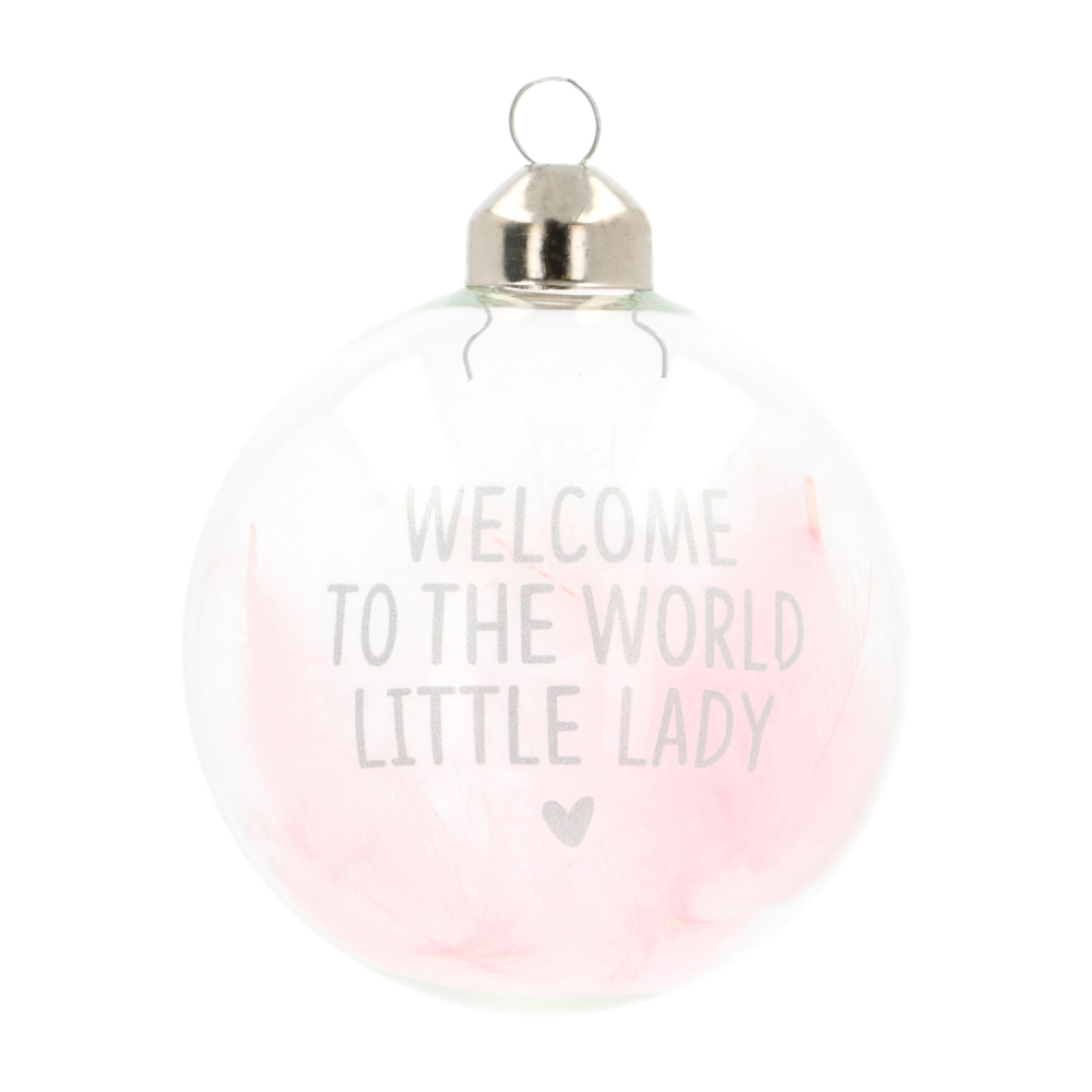 Baby's first kerstbal Welcome To The World roze 8cm glas