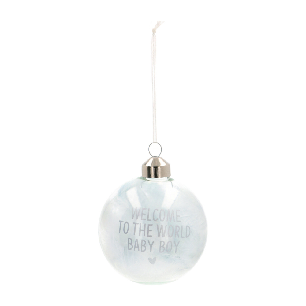 Baby's first kerstbal Welcome To The World blauw 8cm glas