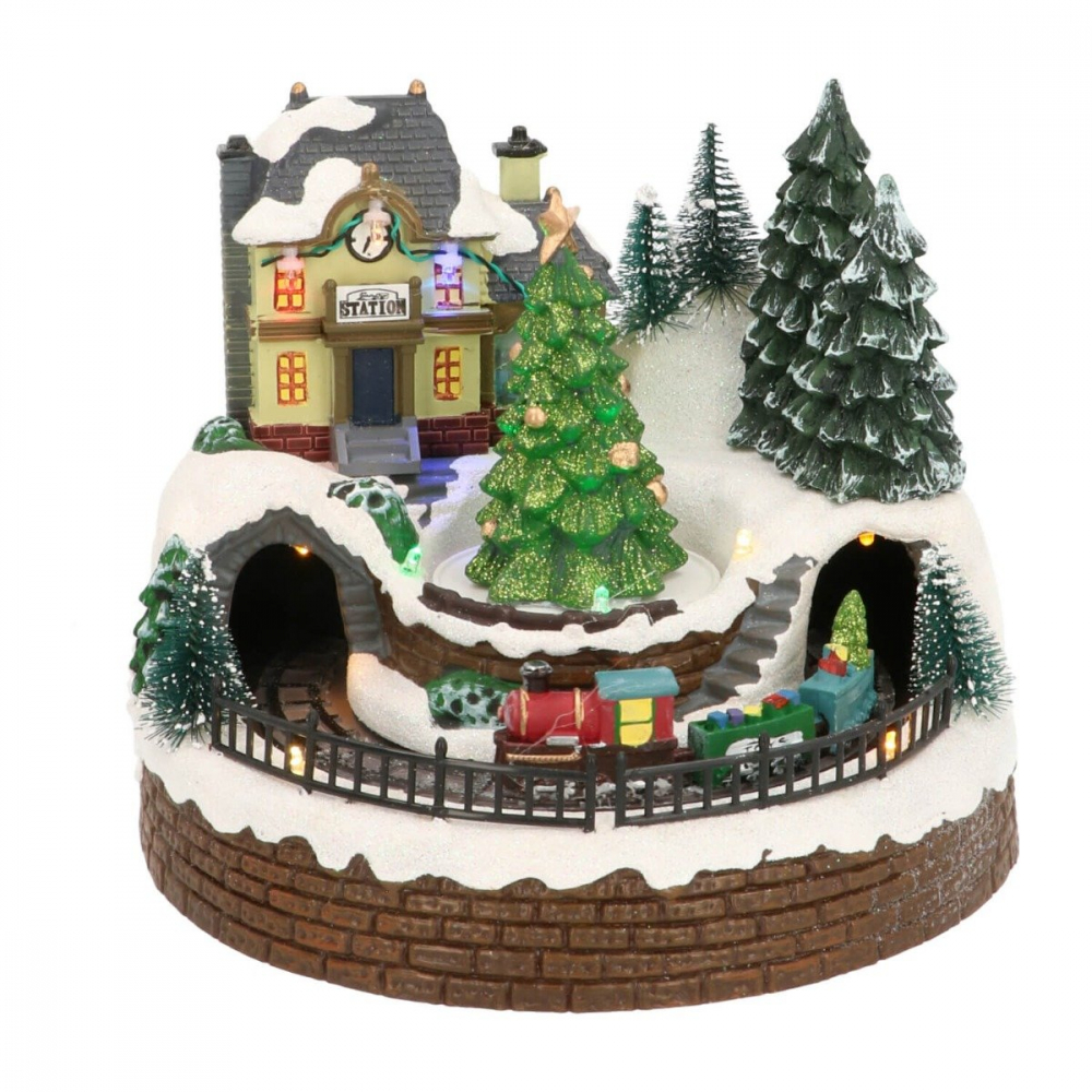 Kersttafereel Small train station 20 cm Music