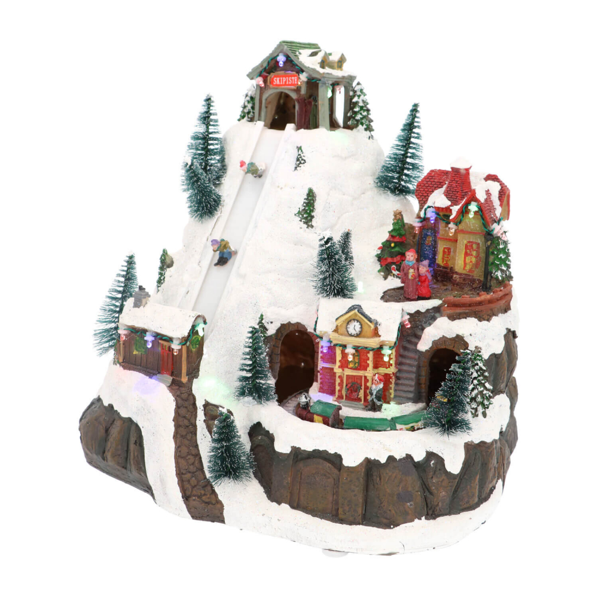 Kersttafereel Ski mountain 29,5 cm Music
