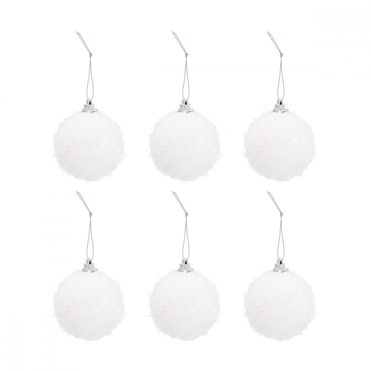 Sneeuwballen 6cm wit glitter 6 stuks