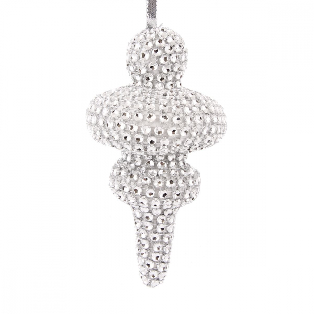 Bling cone 14cm zilver