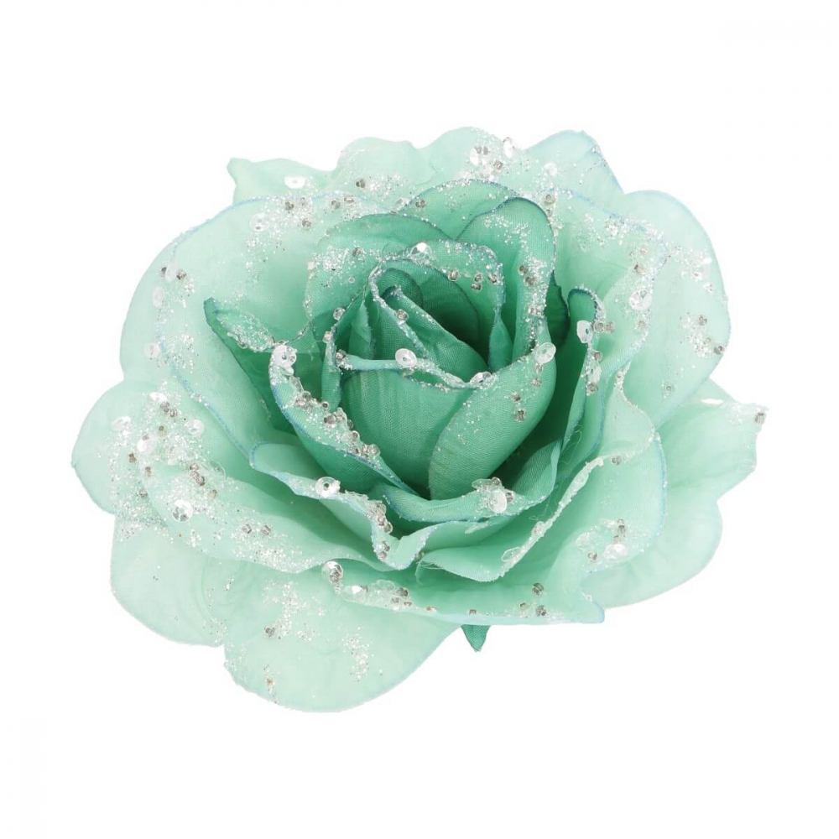 Roos op clip ijsblauw 12 cm