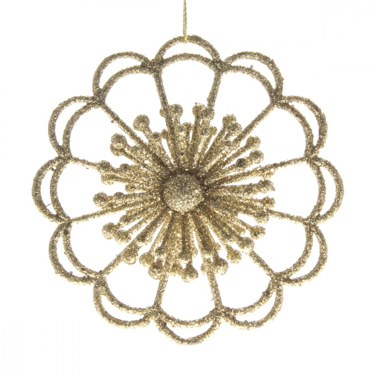 Glitter 3D bloem 9,5cm goud