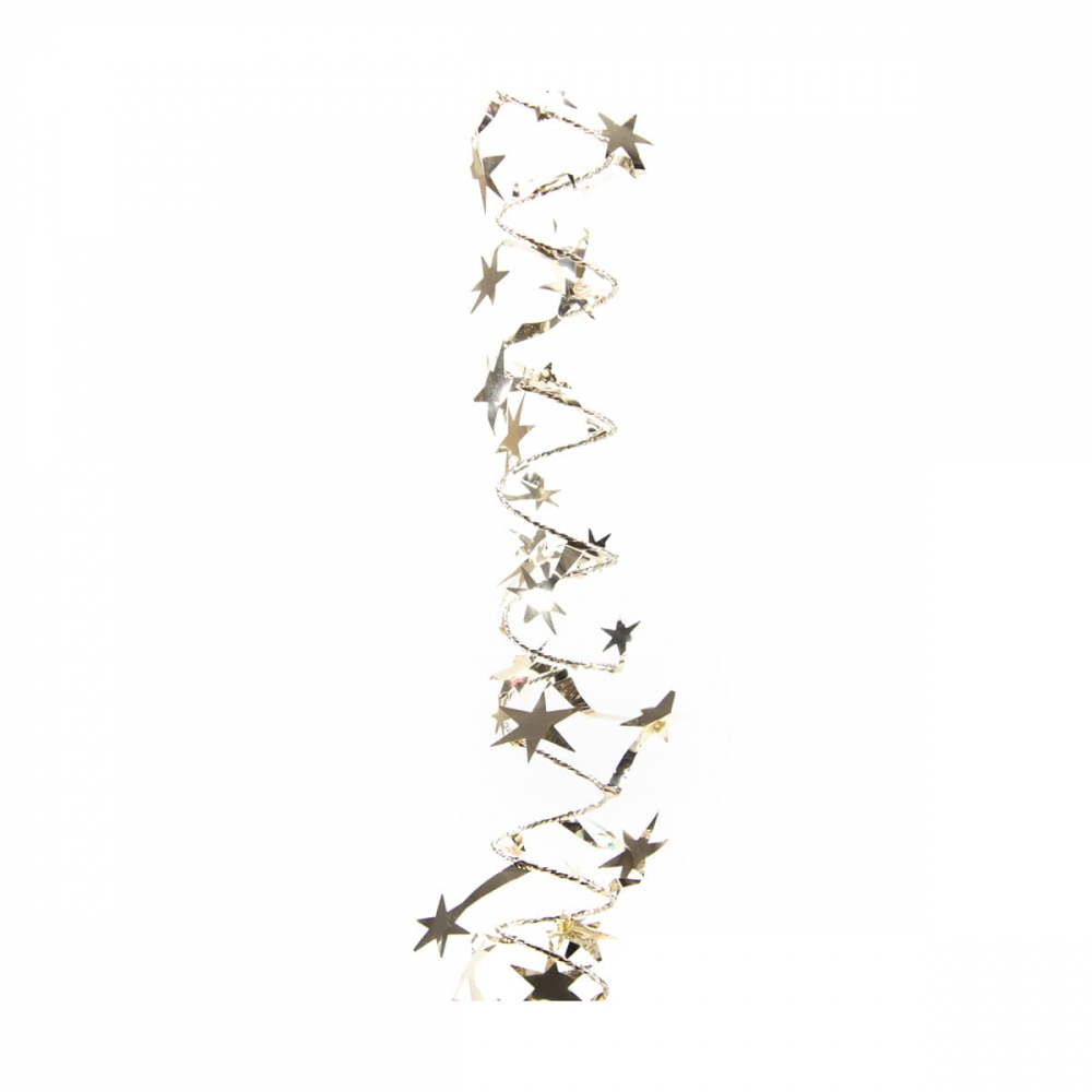Spiraalslinger met sterren champagne 750cm glanzend