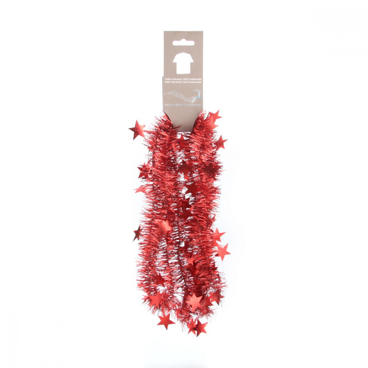 Kerstslinger met sterren kerstrood 270x6cm gestanst
